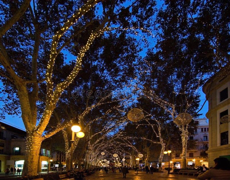 Lumières de vacances de Noël dans Palma images libres de droits