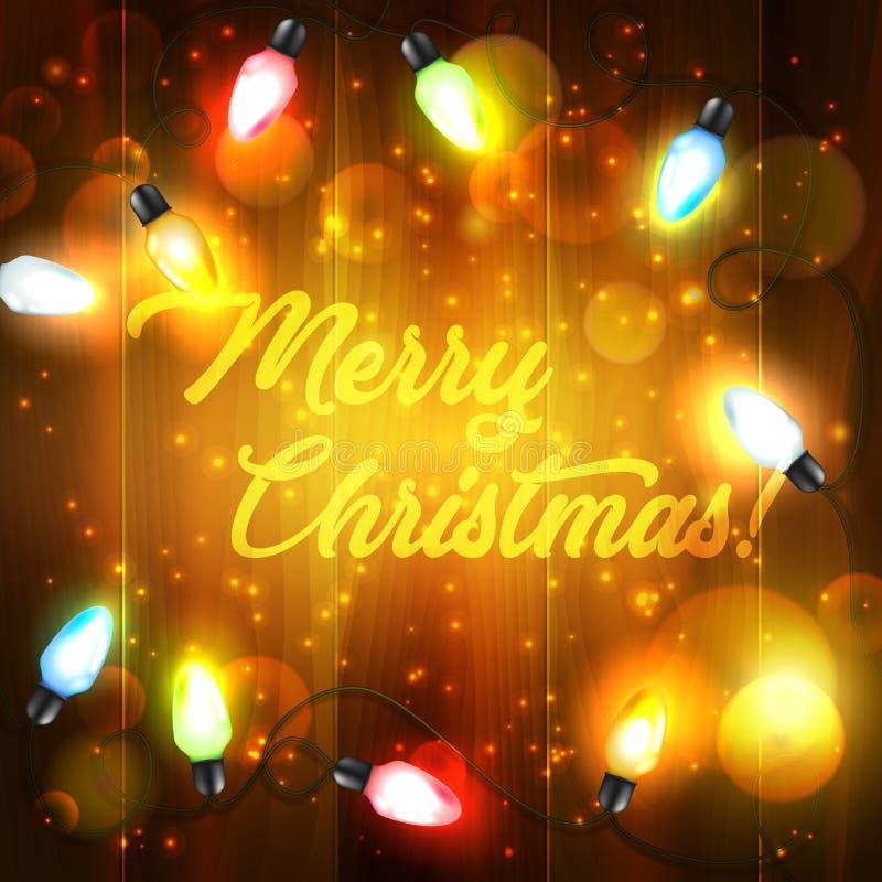Lumières de vacances de Noël sur le fond en bois illustration stock