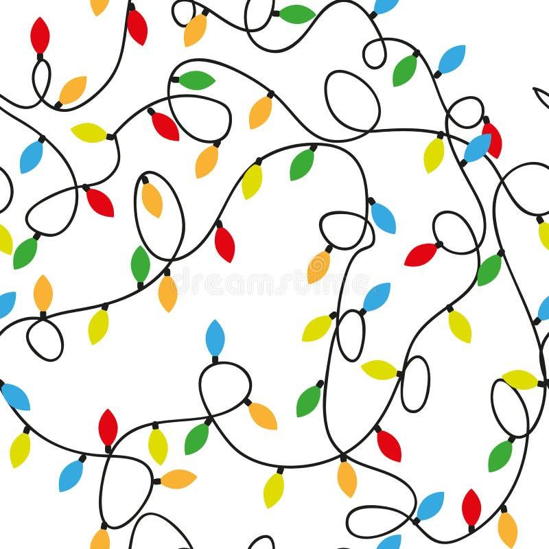 lumières defocused d'image de Noël d'ampoules de fond Modèle sans couture avec la guirlande colorée d'aquarelle des ampoules illustration stock