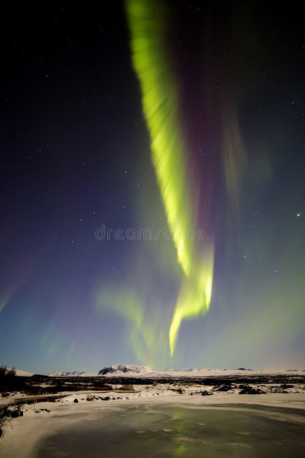 Lumières du nord Þingvellir IIII images stock
