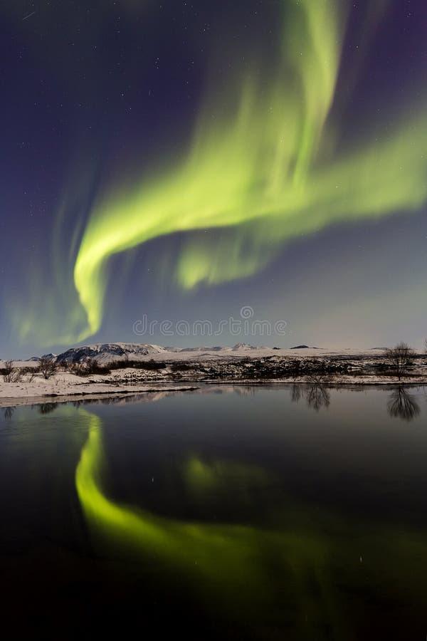 Lumières du nord Þingvellir VIII photographie stock
