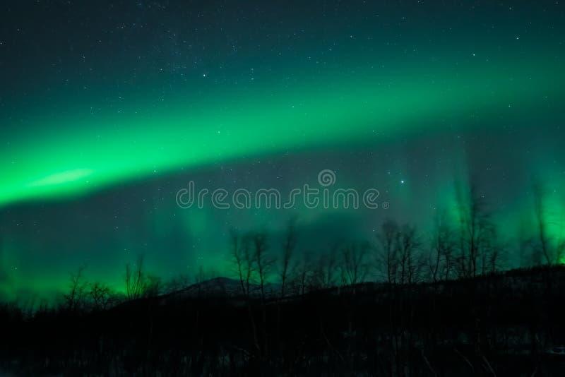 Lumières du nord d'aurora borealis impressionnant d'affichage photographie stock libre de droits