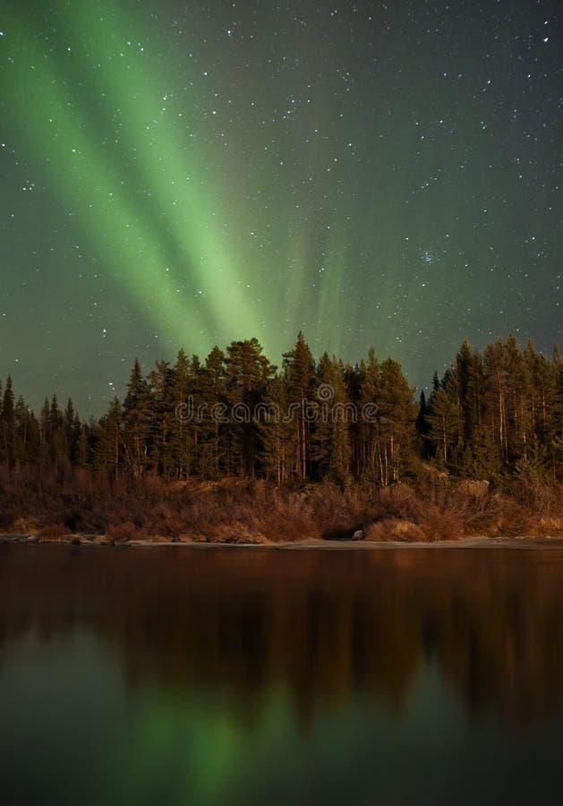 Lumières du nord en Finlande photographie stock libre de droits
