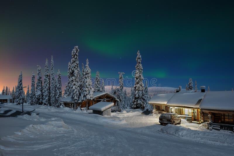 Lumières du nord en Laponie image libre de droits