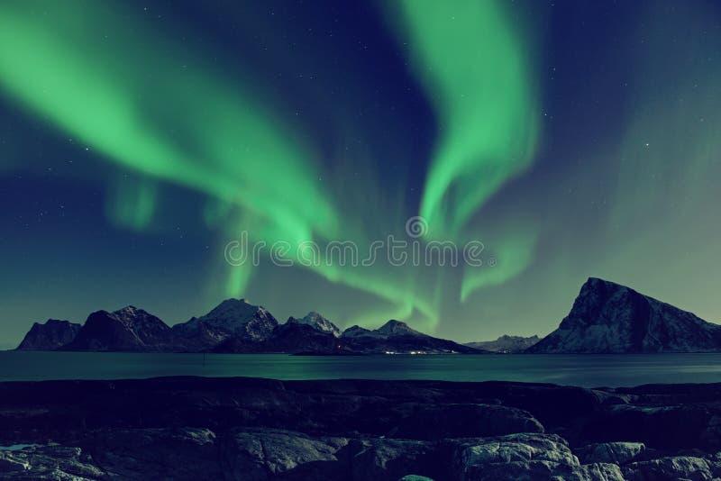 Lumières du nord en Norvège photo stock