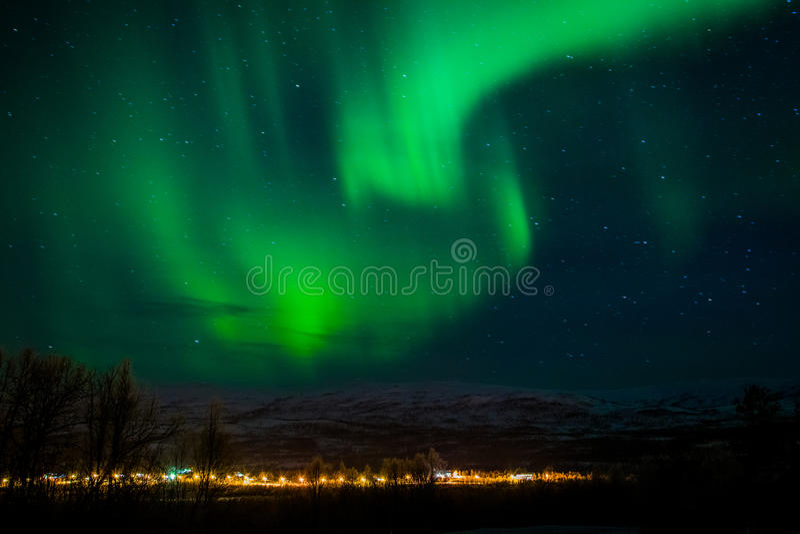 Lumières du nord Finnsnes Norvège photos stock