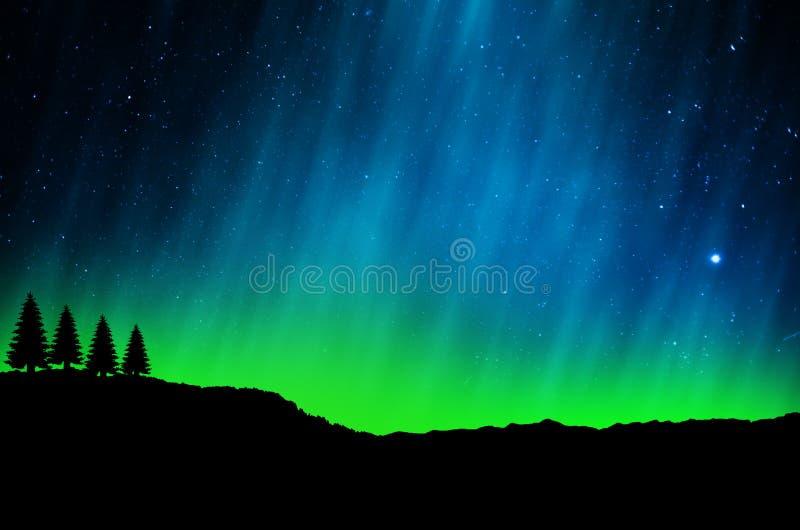 Lumières du nord, l'aurore illustration de vecteur