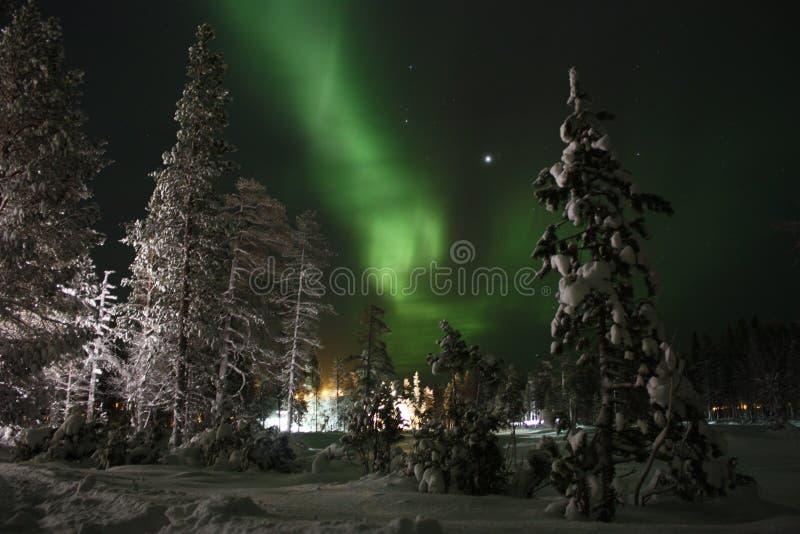 Lumières du nord, Laponie finlandaise image libre de droits