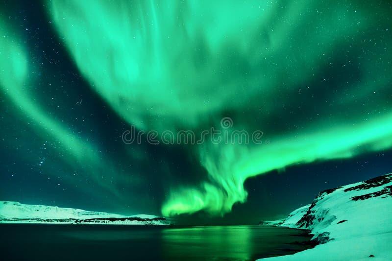 Lumières du nord vertes en Islande image libre de droits