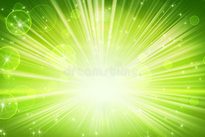Lumières et fond abstrait vert brillant d'étoiles illustration libre de droits