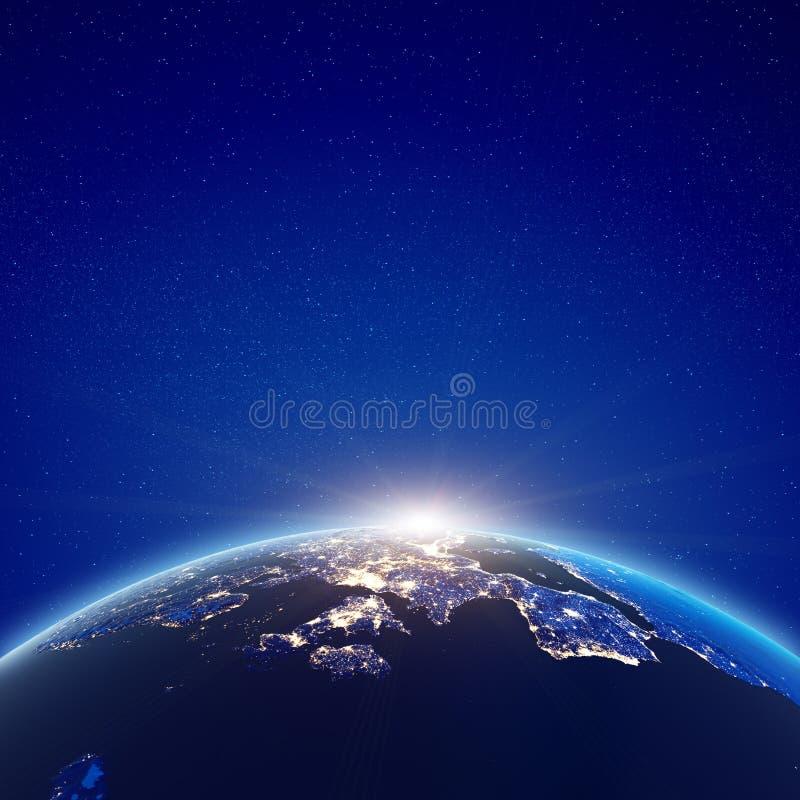 Lumières européennes de ville de lever de soleil illustration libre de droits