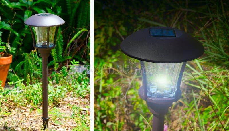 Lumières extérieures actionnées solaires de jardin photographie stock libre de droits