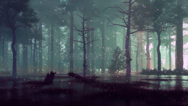 Lumières féeriques de luciole sur le marais de forêt la nuit foncé illustration stock
