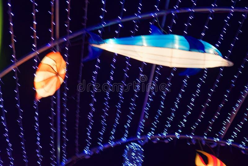 Lumières focales de tache-néon avec différentes formes image stock