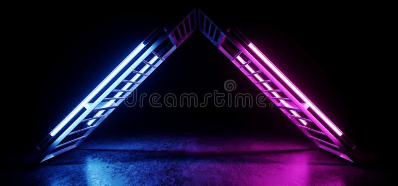 Lumières lasers bleues pourpres rougeoyantes rougeoyantes au néon vides futuristes de construction métallique formées par triangl illustration de vecteur