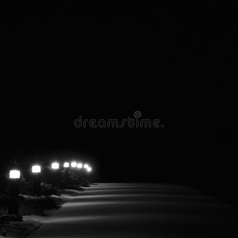Lumières lumineuses de sentier piéton de parc de Milou, perspective extérieure blanche de rangée de lampadaires de lanternes de t images stock