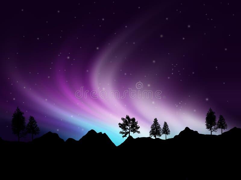 Lumières nordiques illustration de vecteur