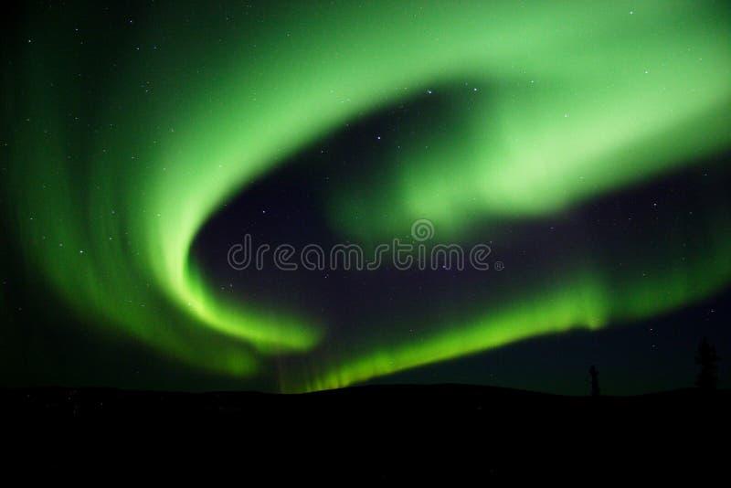 Lumières nordiques tourbillonnant dans le ciel images libres de droits
