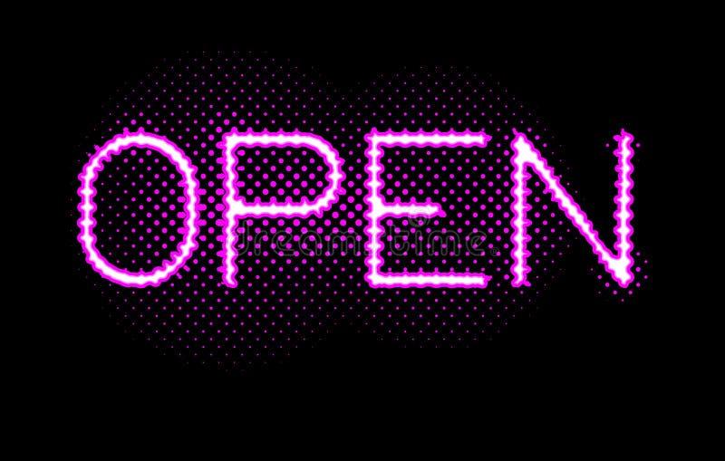 Lumières ouvertes au néon de signe de rose illustration stock
