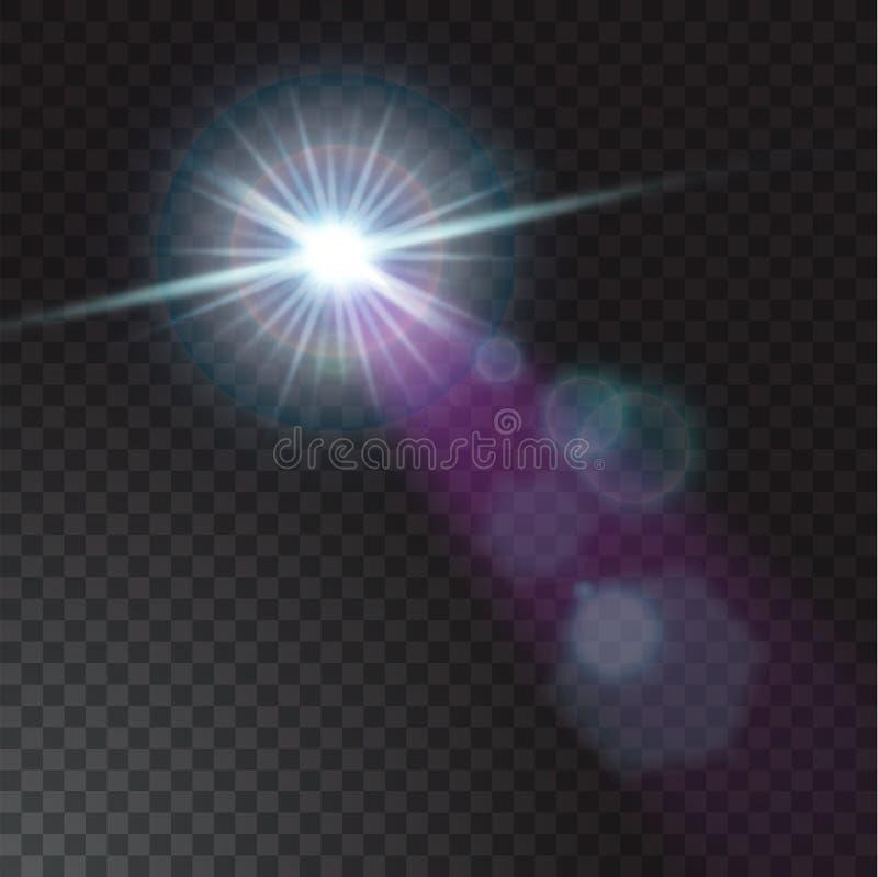 Lumières réalistes de faisceau sur le fond transparent illustration stock