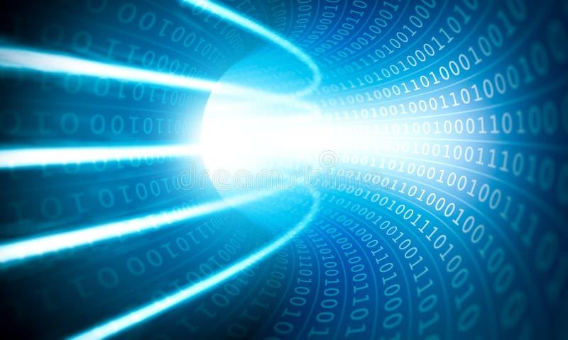 Lumi?res rougeoyantes dans un tunnel de code binaire illustration de vecteur