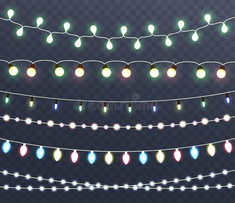 Lumières rougeoyantes de Noël, guirlandes, décorations de vacances illustration libre de droits