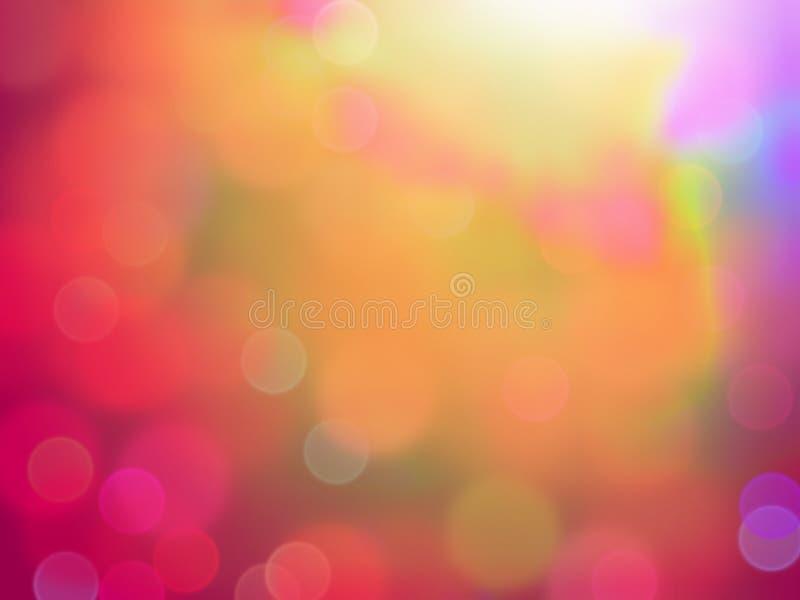 Lumières rouges abstraites de tache floue de bokeh avec les fuites légères oranges à partir du dessus Pour l'utilisation de fond  illustration stock