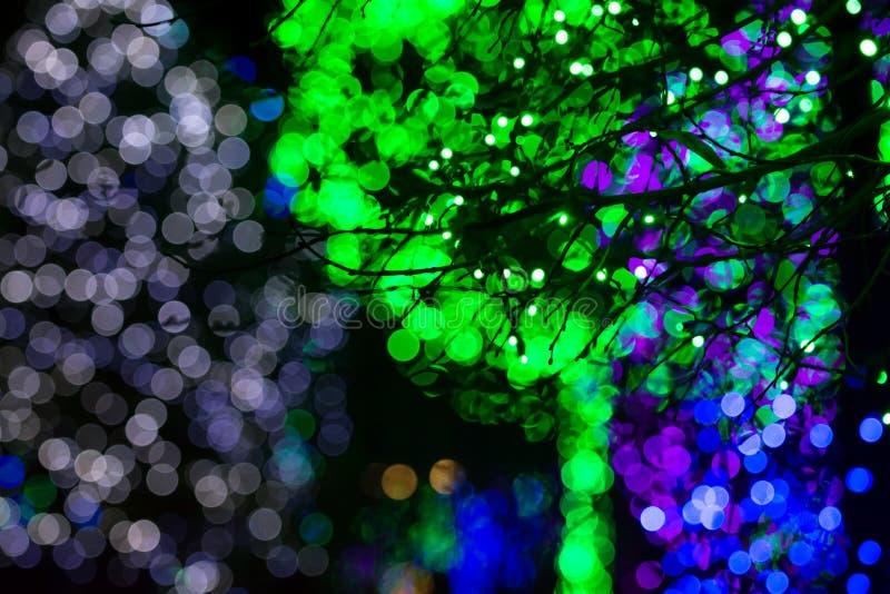Lumières vertes, bleues et blanches de Bokeh photos stock