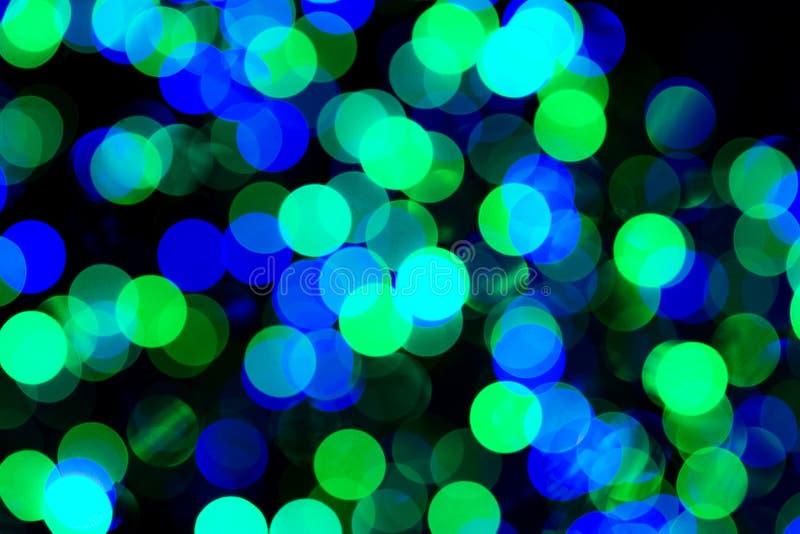 Lumières vertes et bleues de Bokeh image libre de droits