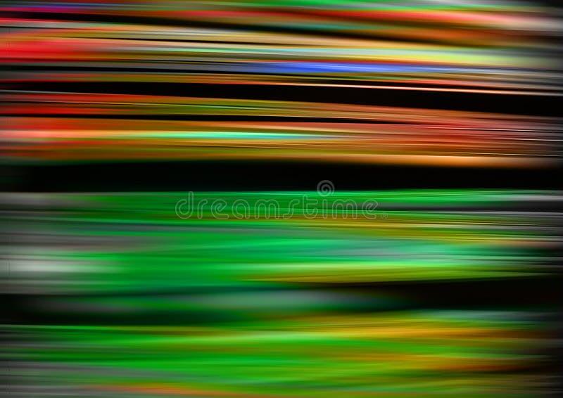 Lumières vertes, rouges, bleues, jaunes et rayons sur le fond noir, fond texturisé d'éclairage, fibres rougeoyantes numériques illustration de vecteur