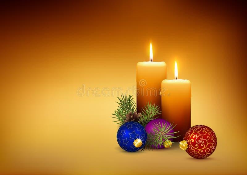 Lumi di candela/candele - carta del modello di natale con spazio libero per il vostri propri testo, desideri o progettazione immagine stock