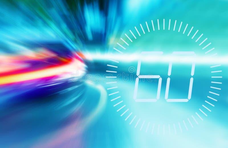 Lumi?res troubles des voitures de pr?cipitation dans la ville de nuit Limitation de vitesse symbole d'avertissement de 60 M/H Onc illustration de vecteur