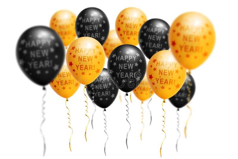 Or lumineux et ballons noirs 2019, Noël, ballon de nouvelle année avec le scintillement sur le fond blanc D'isolement Ballon images libres de droits