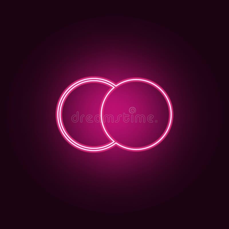 Luminosit? ed icona di contrasto Elementi del web nelle icone al neon di stile E illustrazione vettoriale