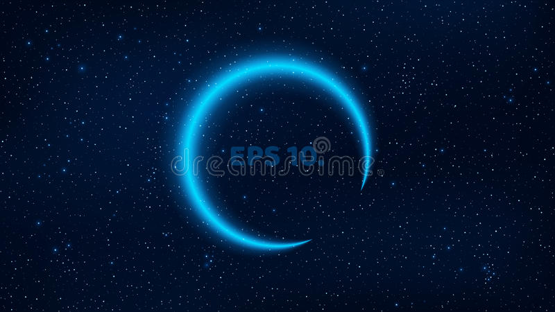 Luminous banner from the neon line of blue color against the background of the starry sky. Fantastic, cosmic space. The blue plane stock illustration