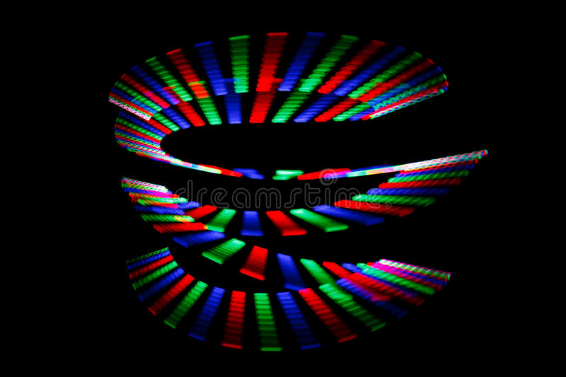 Luminous colors of rainbow trail in form of spiral royalty free stock photos