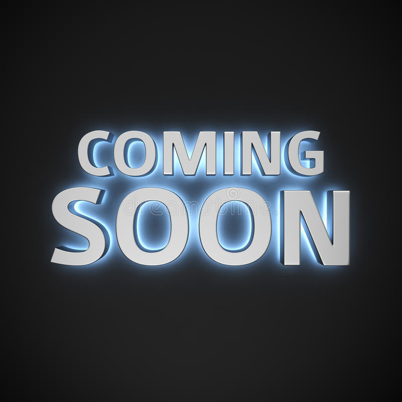 Luminous Coming Soon. Phrase Coming Soon with backlight effect on the black background vector illustration