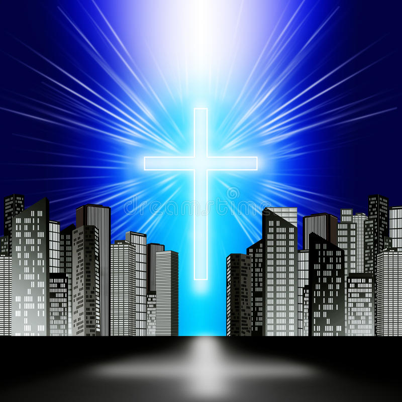 Download A luminous cross stock illustration. Image of building - 42423691