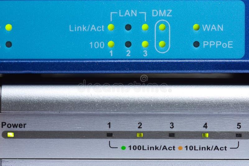 Luminous indicators of network equipment stock photo
