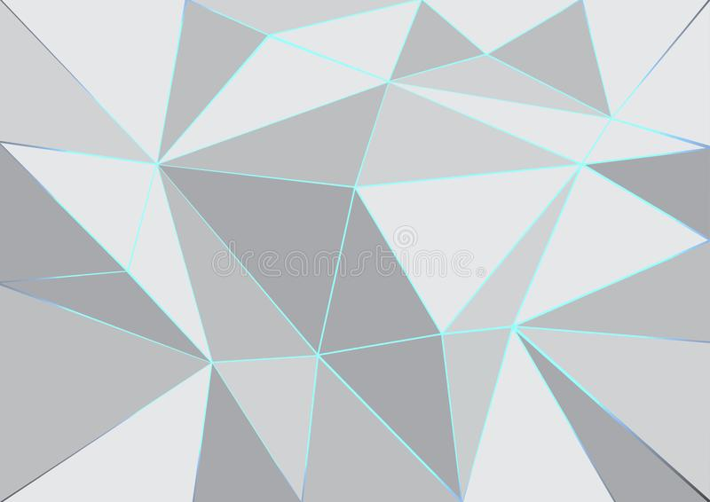 Luminous lines and geometric color white and gray abstract background stock illustration