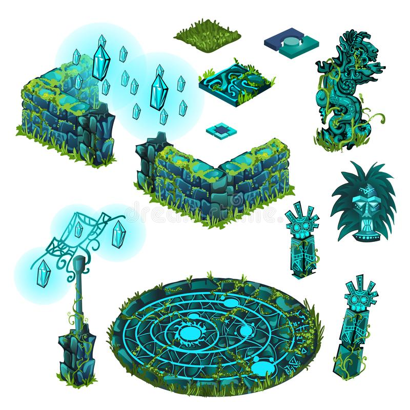 Luminous objects turquoise color. Totem, stone fence, lamppost. The set of elements of architecture and symbols of the. Religion of the ancient civilization royalty free illustration