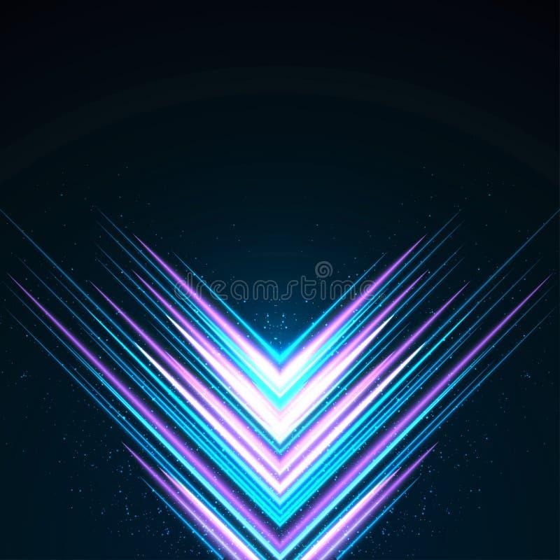 Luminous reflected purple and blue beams stock illustration