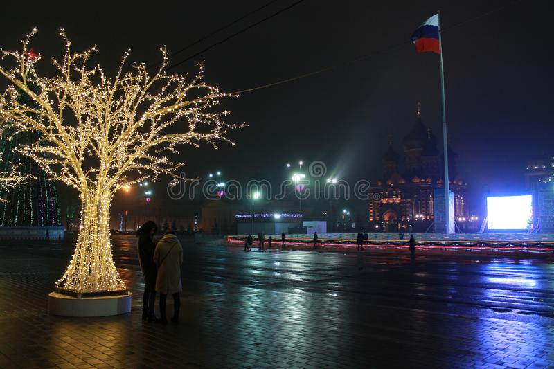 Tula, New-Year 2018 on Lienin square royalty free stock photo