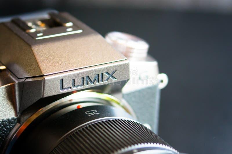 Lumix Logo. Bishkek, Kyrgyzstan - 24 February, 2018: Close up logo of grey Panasonic Lumix stock photos
