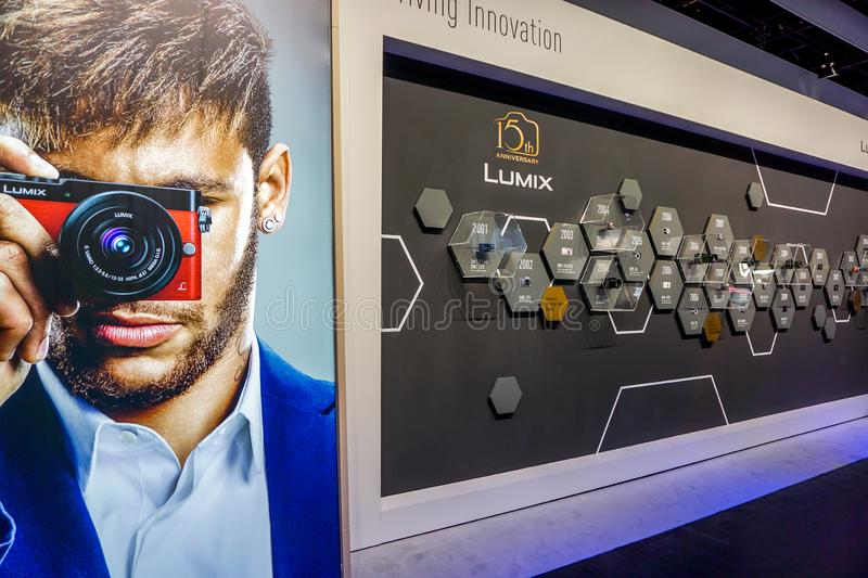 Lumix stand in the Photokina Exhibition. COLOGNE, GERMANY - SEPTEMBER 21, 2016: Photokina Exhibition interior. The Photokina is the world`s largest trade fair royalty free stock photos