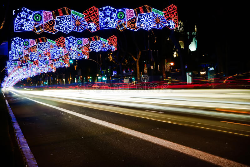 Lumières de Noël de Barcelone photos libres de droits