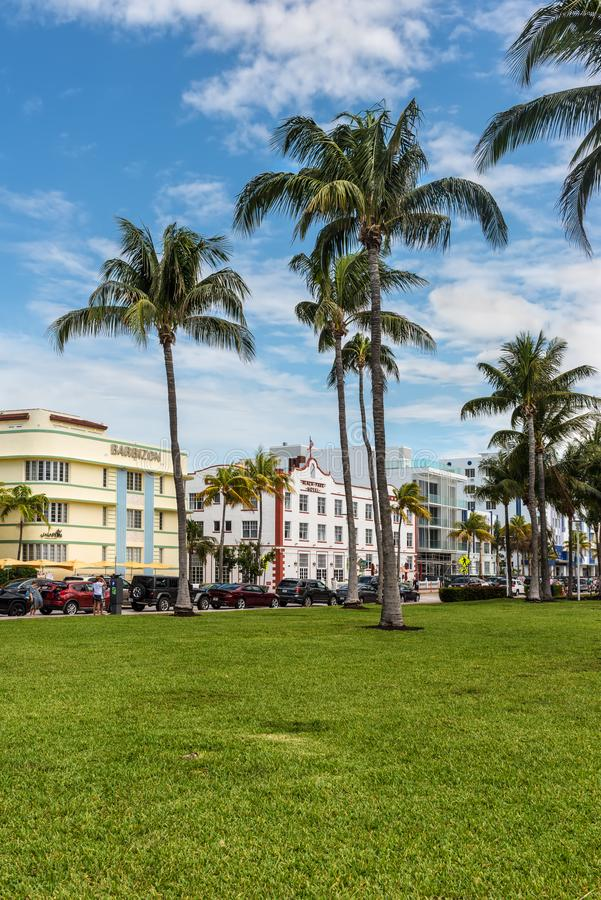 Lummus Park and Ocean Drive, Miami Beach, Florida, United States of America royalty free stock photo