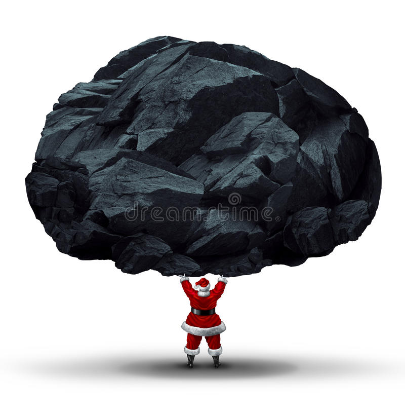 Lump Of Coal Symbol. As a punishment gift or present for the naughty given by santa clause as a huge chunk of mineral being lifted by a jolly man in a red suit royalty free illustration