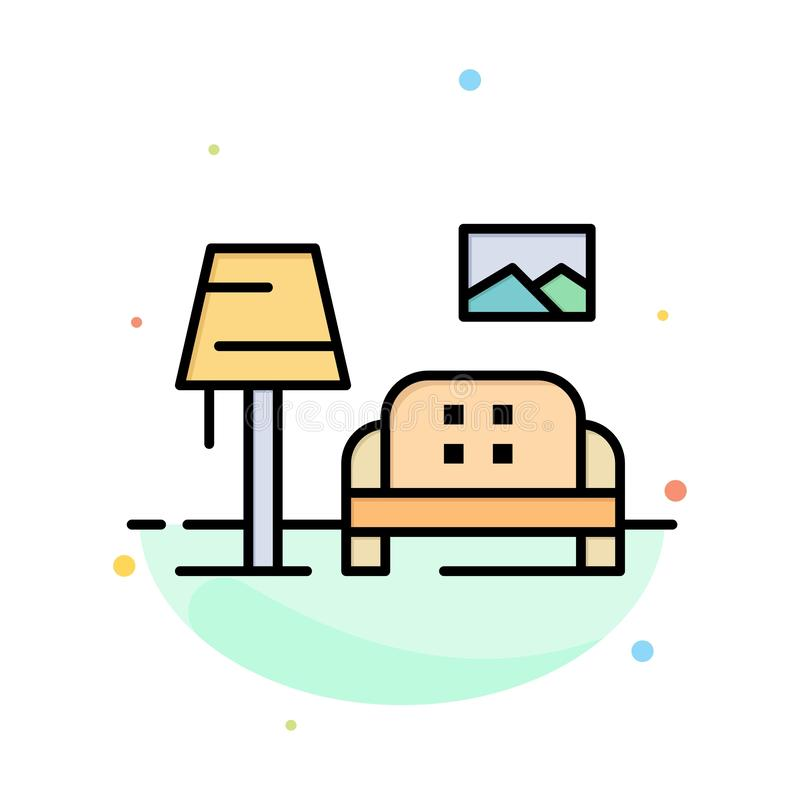Lump, Room, Sofa, Gallery Abstract Flat Color Icon Template stock illustration
