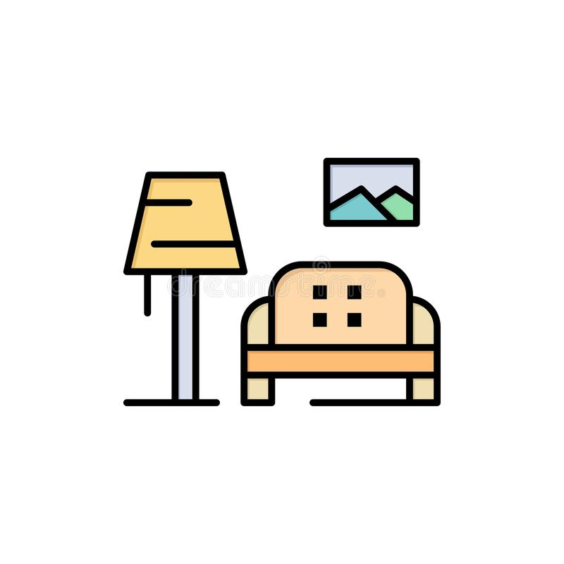 Lump, Room, Sofa, Gallery  Flat Color Icon. Vector icon banner Template stock illustration